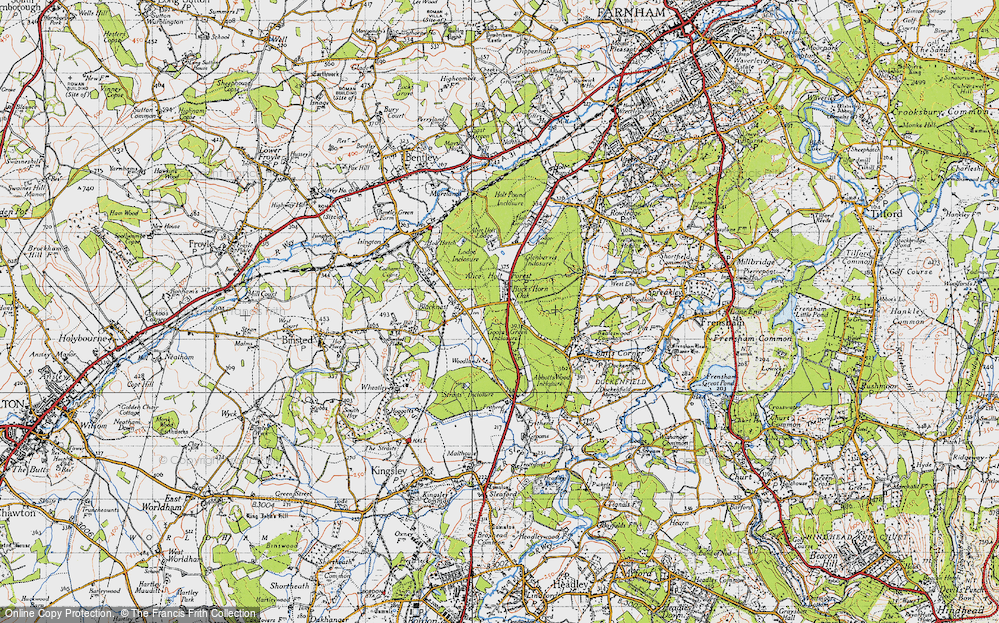 Old Map of Historic Map covering Alice Holt Forest in 1940