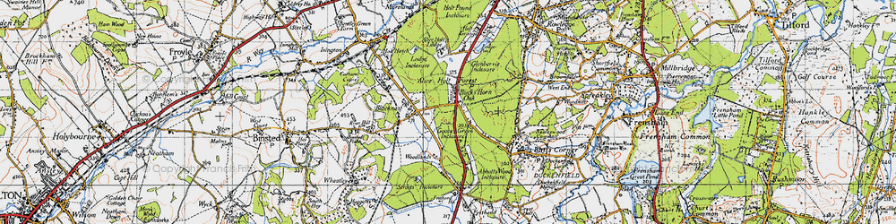 Old map of Alice Holt Lodge (Research Station) in 1940