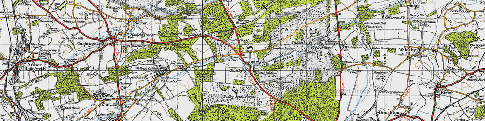 Old map of Budby in 1947