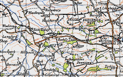 Old map of Langford Barton in 1946