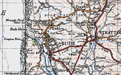 Old map of Bude in 1946