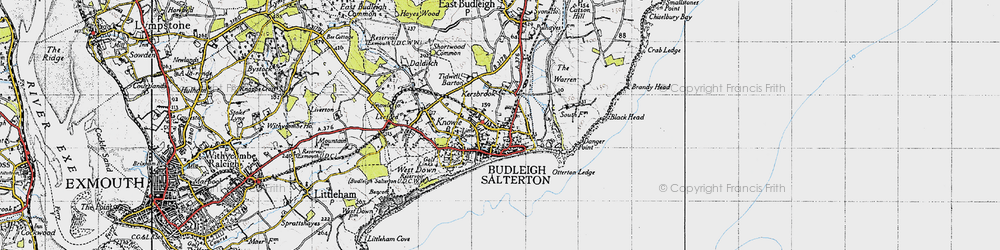 Old map of Budleigh Salterton in 1946