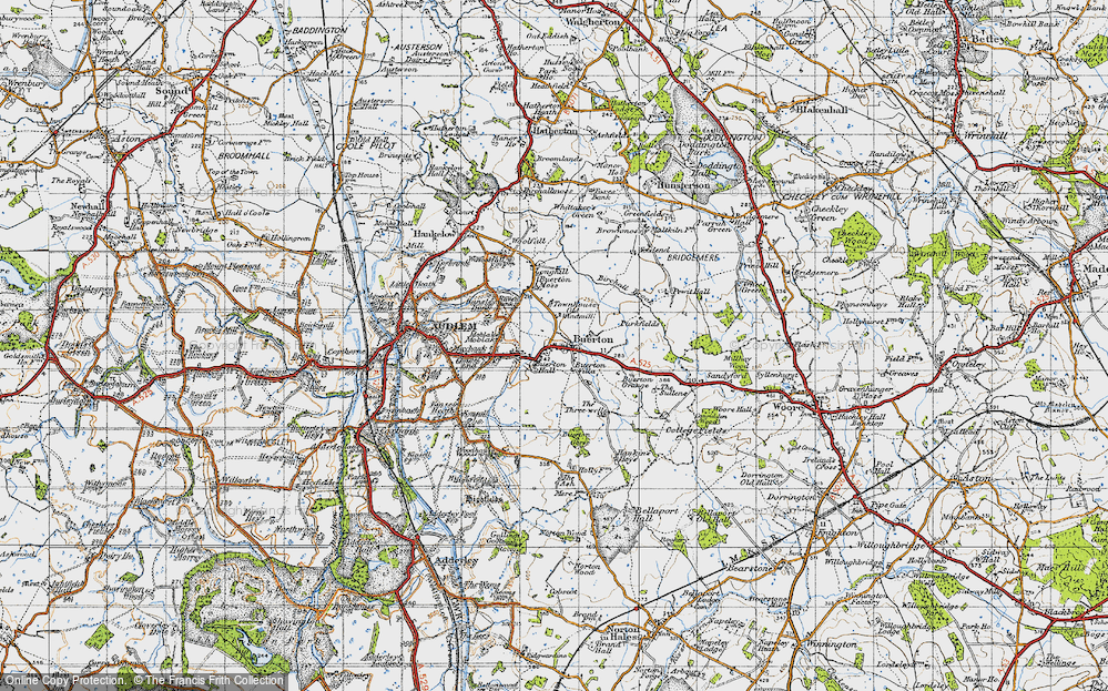 Old Map of Historic Map covering Woodend in 1947