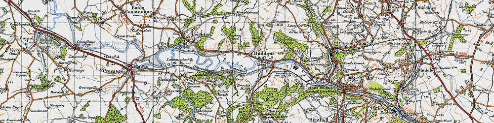 Old map of Buildwas in 1947