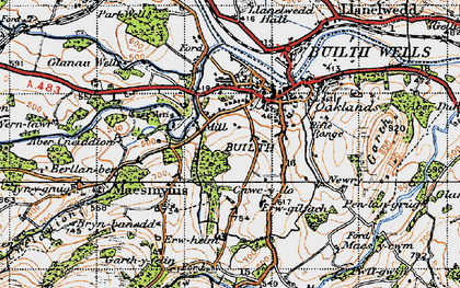 Old map of Builth Wells in 1947