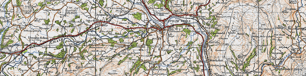 Old map of Abercynithon in 1947