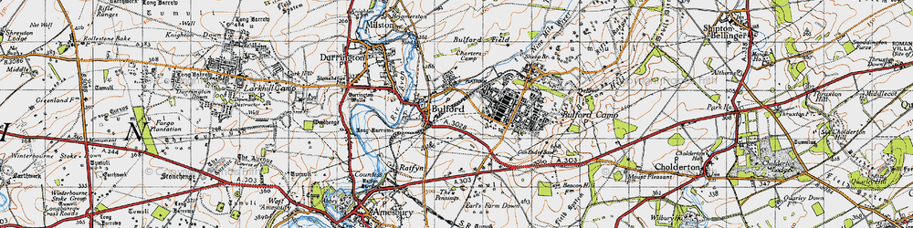 Old map of Bulford in 1940