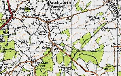 Old map of Bull's Green in 1946