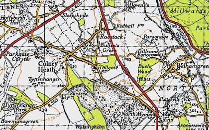 Old map of Bullen's Green in 1946