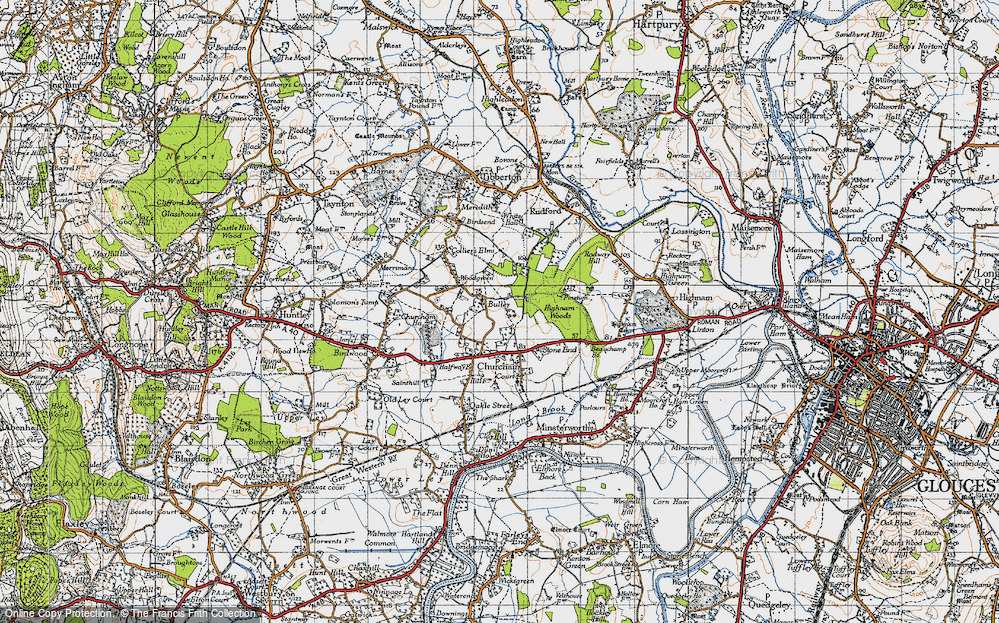Old Map of Historic Map covering Woodgreen in 1947