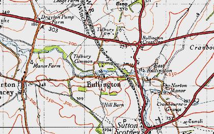 Old map of Tidbury Ring in 1945