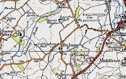Old map of Bulmer in 1946