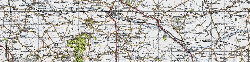 Old map of Bunbury in 1947