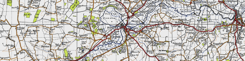 Old map of Bungay in 1946