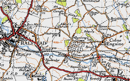 Old map of Abbot's Shrub in 1945