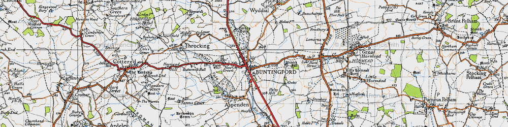 Old map of Buntingford in 1946