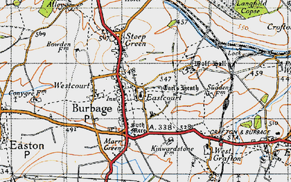Old map of Burbage in 1940