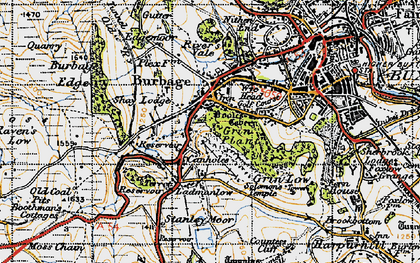Old map of Burbage in 1947