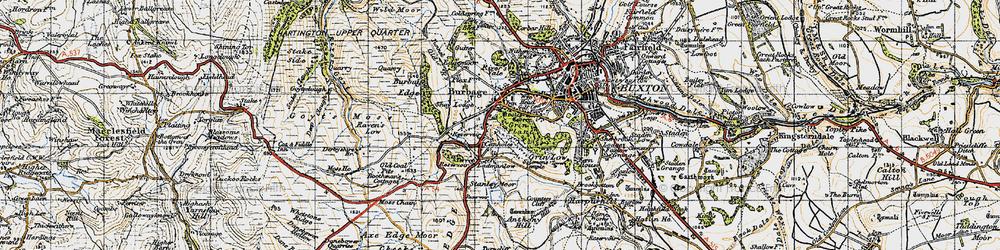 Old map of Wild Moor in 1947