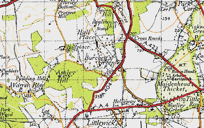 Old map of Burchett's Green in 1947