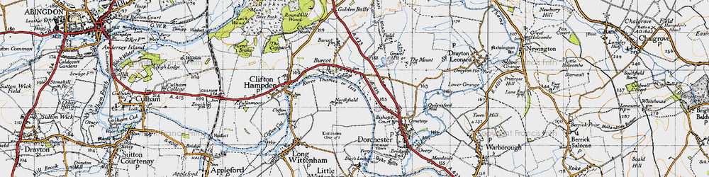 Old map of Burcot in 1947