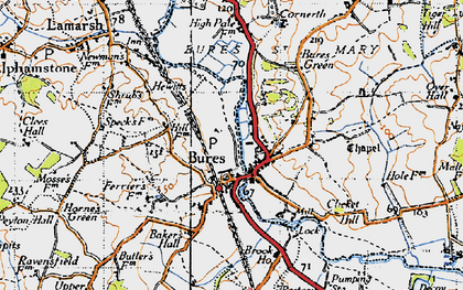 Old map of Bures in 1946