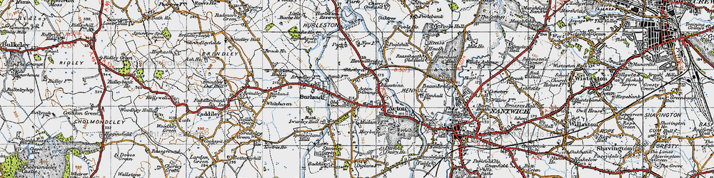 Old map of Acton Grange in 1947