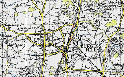 Old map of Burgess Hill in 1940