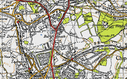Old map of Burgh Heath in 1945