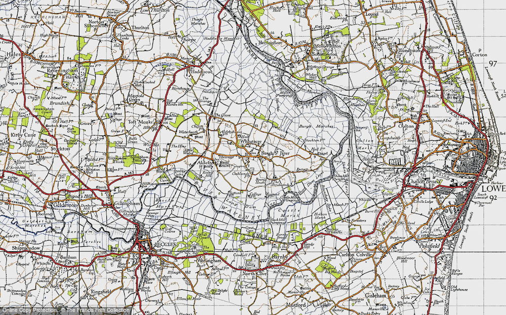 Old Map of Historic Map covering Wheatacre Marshes in 1946
