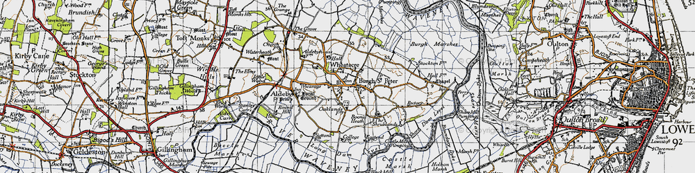 Old map of Wheatacre Marshes in 1946