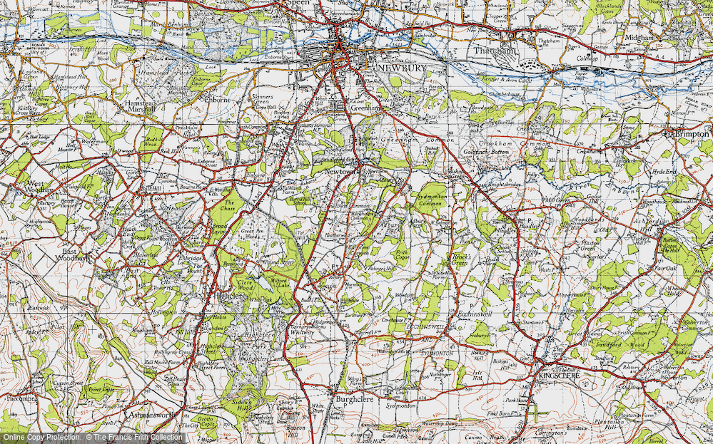 Old Map of Historic Map covering Adbury Park in 1945