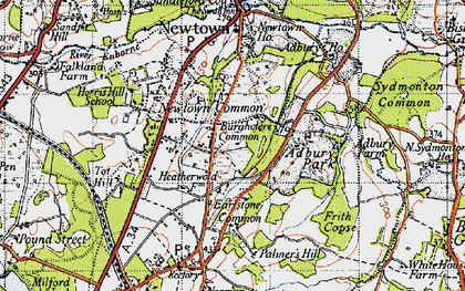 Old map of Adbury Park in 1945
