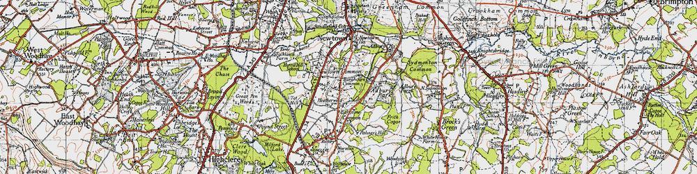 Old map of Adbury Park in 1945
