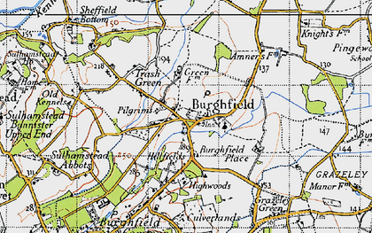 Old map of Burghfield in 1945
