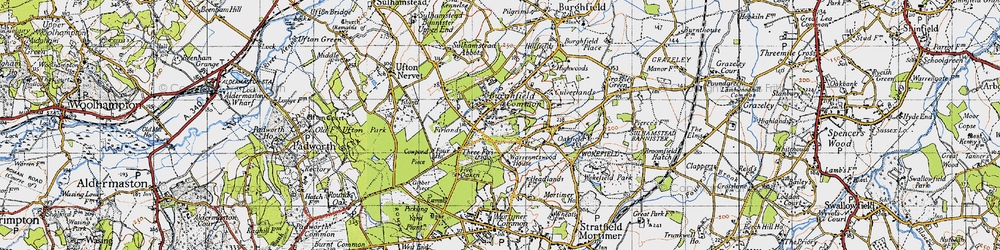 Old map of Wokefield Common in 1945