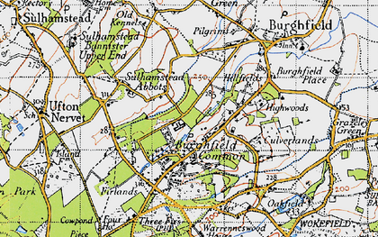 Old map of Burghfield Hill in 1945