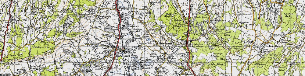 Old map of Burham in 1946