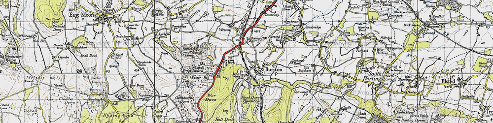 Old map of Buriton in 1945