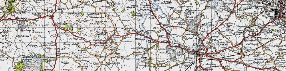Old map of Whitehaven in 1947