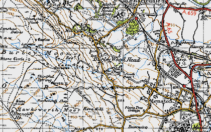Old map of Burley Woodhead in 1947