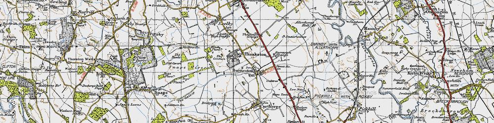 Old map of Burneston in 1947