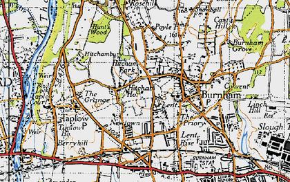 Old map of Burnham in 1945