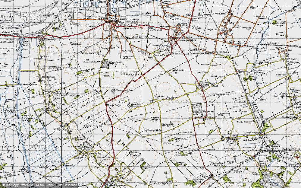 Old Map of Historic Map covering Wootton Dale in 1947