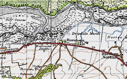 Old map of Burnham Deepdale in 1946