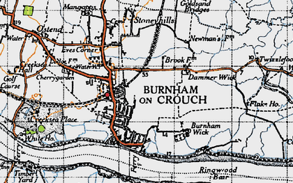 Old map of West Wick in 1945