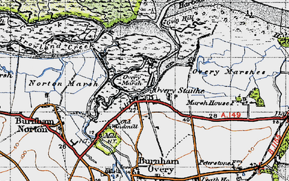 Old map of Burnham Overy Staithe in 1946