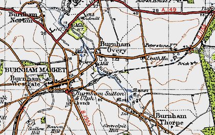 Old map of Burnham Overy Town in 1946