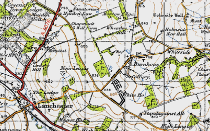 Old map of Burnhope in 1947