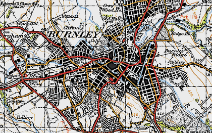 Old map of Burnley in 1947